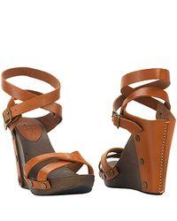 See By Chloé - Brown Tan Wood Wedge Sandal - Lyst