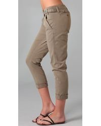 Vince - Green Crossover Waist Twill Pants - Lyst