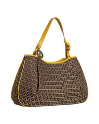 Fendi | Brown Yellow Zucchino Canvas Forever Shopping Hobo | Lyst
