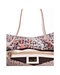 Fendi | Pink Sequin Floral Zucchino Canvas Baguette | Lyst