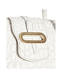 Jimmy Choo | White Croc Embossed Leather Tilda Flap Tote Bag | Lyst