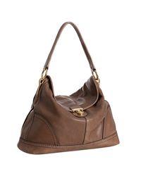 Prada | Brown Stone Deerskin Pushlock Shoulder Bag | Lyst