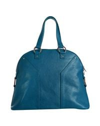 Saint Laurent - Blue Muse Oversized Leather Tote - Lyst