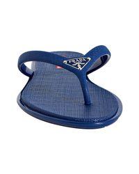 Prada | Sport Dark Blue Crosshatch Rubber Flip Flops With Carry Case | Lyst