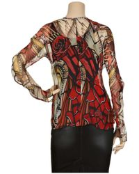 Alexander McQueen | Red Printed Silk Chiffon Blouse | Lyst