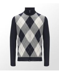 Ballantyne | Blue Argyle Zip-up Cardigan for Men | Lyst