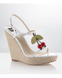Dolce & Gabbana | White Neema Leather Wedge Sandal | Lyst