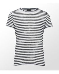 JOSEPH | Gray Stripe T-shirt for Men | Lyst
