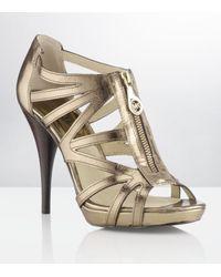 MICHAEL Michael Kors | Metallic Shimmer Zip Front Stiletto | Lyst