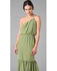 Halston - Green Silk One Shoulder Maxi Dress - Lyst