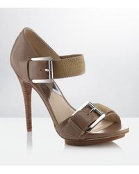 MICHAEL Michael Kors | Metallic Faith Leather Sandal | Lyst