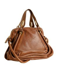 Chloé | Brown Wood Leather Paraty Top Handle Bag | Lyst