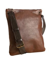 John Varvatos | Brown Espresso Vachetta Leather Flat Messenger Bag for Men | Lyst