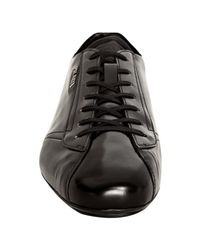 Prada - Black Shined Leather Lace-up Sneakers for Men - Lyst