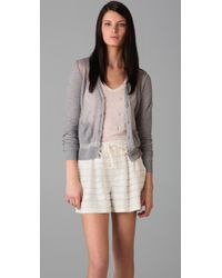 3.1 Phillip Lim - Gray Sheer Front Panel Cardigan - Lyst
