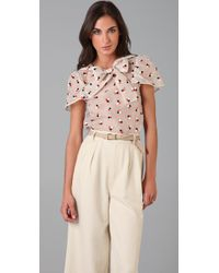 Marc By Marc Jacobs | Pink Odette Dot Embroidery Blouse | Lyst