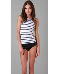 Pret-a-surf | White Striped & Polka Dot Rash Guard Tank | Lyst