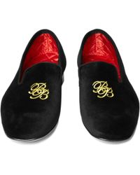 Brooks Brothers - Black Velvet Logo Slippers for Men - Lyst