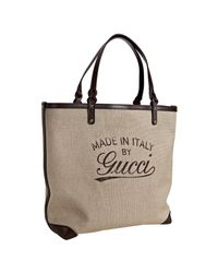 Gucci | Natural Craft Canvas and Leather Tote | Lyst