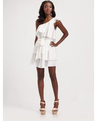 Jay Godfrey | White Robertson One Shoulder Asymmetrical Tiered Dress | Lyst