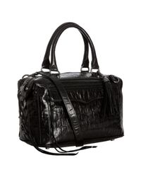 Rebecca Minkoff | Black Alligator Embossed Mab Mini Bag with Strap | Lyst