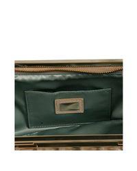 Fendi | Beige Metallic Leather Cutout Handle Clutch | Lyst