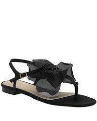 kate spade new york | Black Florina Flower Thong Sandals | Lyst