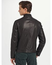 Armani - Black Knit-trim Leather Jacket for Men - Lyst