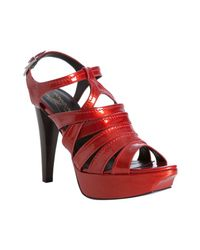Donald J Pliner | Red Fire Patent Leather Cleva Platform Sandals | Lyst