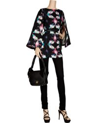 Halston | Black Scarf-print Georgette Slip Dress | Lyst