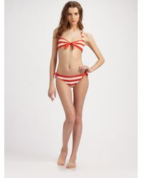 Marc By Marc Jacobs | Red Bella Striped Bikini Bottom | Lyst