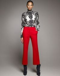 Alexander McQueen - Red Crepe Ankle Pants - Lyst
