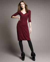 Burberry Prorsum | Red Ruched V-neck Dress | Lyst