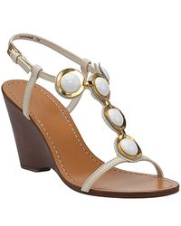 kate spade new york | White Wraina - Cream Beaded Wedge Sandal | Lyst
