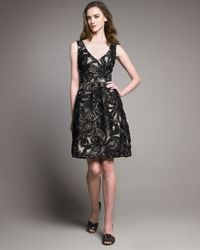 Lela Rose   Gray Ribbon & Lace V-neck Dress   Lyst