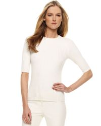 Michael Kors | Ribbed Knit Sweater, White | Lyst