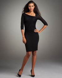 Roberto Cavalli | Black Asymmetric Fitted Jersey Dress | Lyst