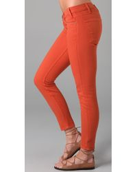 Current/Elliott - Orange The Stiletto Cropped Jeans in Cayenne - Lyst