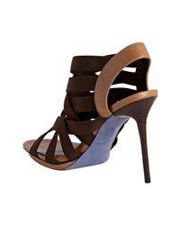 Donald J Pliner | Brown Espresso Woven Maddie Stiletto Sling Back Platform Sandals | Lyst