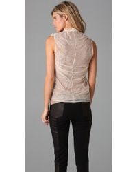 Plein Sud - Natural Chantilly Lace Blouse - Lyst
