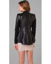 Hervé Léger | Black Leather & Bandage Perforated Jacket | Lyst
