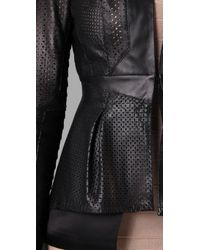 Hervé Léger - Black Leather & Bandage Perforated Jacket - Lyst