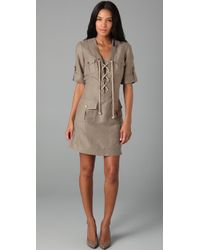 MILLY | Gray Lace-up Safari Dress | Lyst
