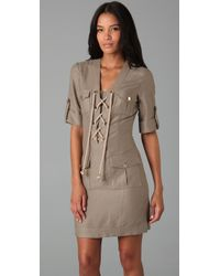 MILLY - Gray Lace-up Safari Dress - Lyst