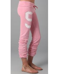 Wildfox | Pink Sporty 9 Skinny Malibu Sweatpants | Lyst