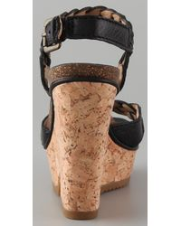Frye - Black Barylin Wedge Sandals - Lyst
