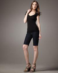PAIGE - Blue Bermuda Pure Knee Shorts - Lyst