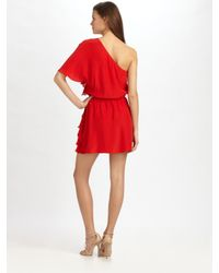 Parker | Red One Shoulder Ruffle Dress | Lyst