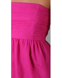 Shoshanna | Purple Shirred Strapless Dress | Lyst