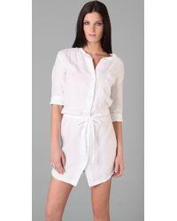 James Perse | White Short Sleeve Linen Shirt Dress with Drawstring Waist | Lyst